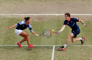 Laura Robson and Andy Murray of Great Britain in the Mixed Doubles Tennis semi-final match at the London Olympics