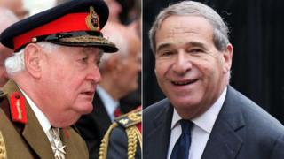 Lord Bramall, left, and Lord Brittan