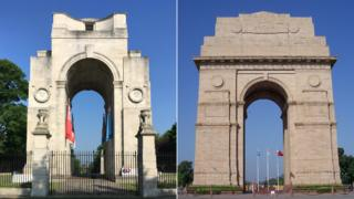 Arch of Remembrance in Leicester and India Gate in New Delhi, India