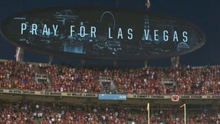 Pray for Las Vegas sign at the stadium