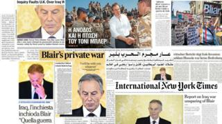 Composite of newspaper front pages showing reaction to Chilcot report