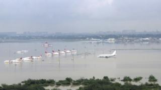 The submerged airport in Chennai, India