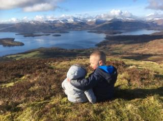 Young brothers at the top of Conic Hill