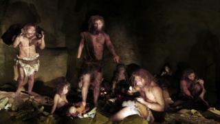 illlustration of Neanderthal family