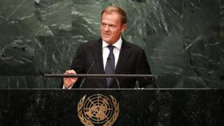European Council president Donald Tusk addresses the General Assembly at the United Nations on September 21, 2016 in New York City