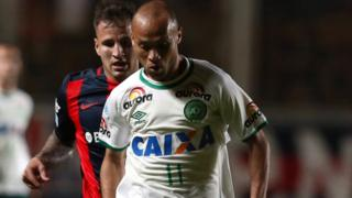 Ananias, of Brazil's Chapecoense, in action during a match against Argentina's San Lorenzo in Buenos Aires, Argentina, on 2 November