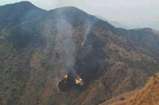 Flames rise from the wreckage of a Pakistan International Airlines (PIA) ATR 42 turboprop passenger plane after it crashed near Abbottabad, Pakistan, 7 December 2016.