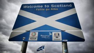 """The """"Welcome to Scotland"""" sign"""