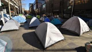 Tents on central Sydney shopping street
