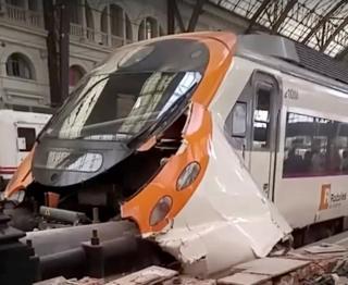 Tren accidentado en Barcelona.