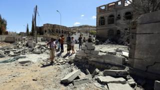 Destruction in neighbourhood of Sanaa hit by air strike