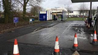 The car wash cordoned off with police tape in Newport