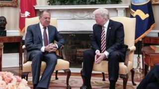Lavrov and Trump at the White House on 10 May 2017