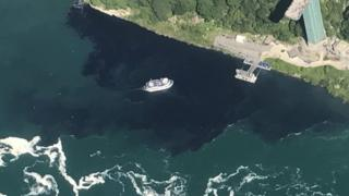 The black discharge from the Niagara Falls Waste Water Treatment Plant on Saturday (29 July 2017)