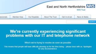 The East and North Hertfordshire NHS Trust website down