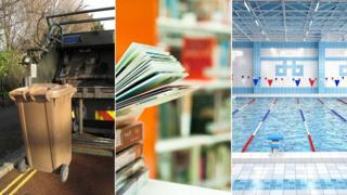 A wheelie bin collection, a library and a municipal swimming pool