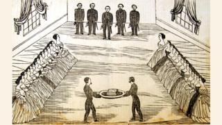 """Grabado de la entrega del """"Libro de oro"""" en 1867 al entonces vicepresidente de Paraguay, Domingo Francisco Sánchez (Foto: El Centinela/Colección CAV/Museo del Barro)"""