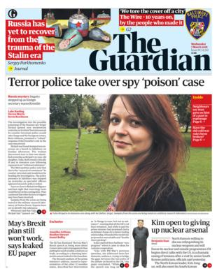 Guardian front page - 07/03/18