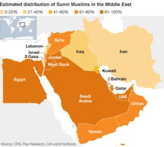 Map showing distribution of Sunni Muslims in the Middle East