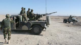 Afghan soldiers on patrol in Sangin, Helmand province