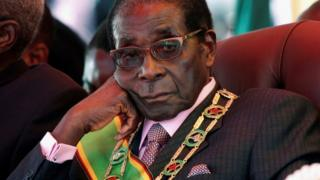Zimbabwe's President Robert Mugabe looks on during a rally marking Zimbabwe's 32nd independence anniversary celebrations in Harare, Zimbabwe in 2012