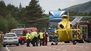 Emergency services at scene of crash on A9