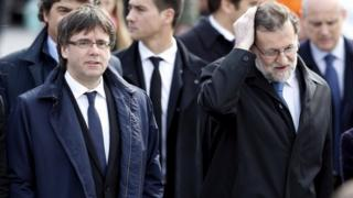 Catalan leader Carles Puigdemont (left) and Spanish Prime Minister Mariano Rajoy. Photo: March 2016