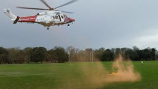 Coastguard Rescue Helicopter 187 lands in Cardiff with a casualty from the incident