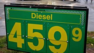 A diesel price sign back in 2008