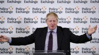 Boris Johnson speaking in London