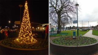 Connah's Quay's tree before and after it was attacked by vandals