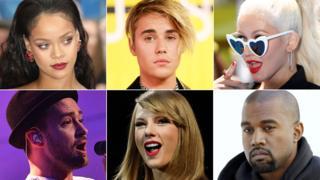 Rihanna, Justin Bieber, Christina Aguilera, Justin Timberlake, Taylor Swift, Kanye West