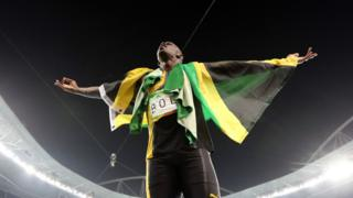 "Jamaica""s Usain Bolt celebrates winning the gold medal in the men""s 4x100-meter relay final during the athletics competitions of the 2016 Summer Olympics"