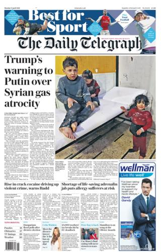 Daily Telegraph front page - 09/04/18