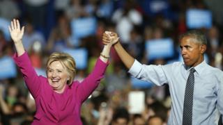 クリントン氏とオバマ氏