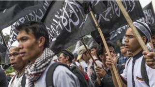 Aksi anti-Perppu Ormas Hizbut Tahrir Indonesia, 18 Juli 2017 di Jakarta.