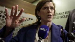 US Ambassador to the UN Samantha Power arrives for UN Security Council consultations. 25 Feb 2016