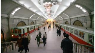 This picture taken 22 April 2007 shows a subway station of the North Korean capital Pyongyang