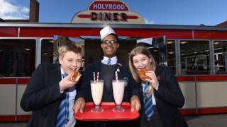 Holyrood pupils outside the diner