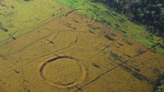Aerial shot of geoglyph