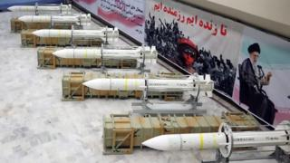 Sayyad-3 missiles on display at an undisclosed location in Iran, 22 July 2017