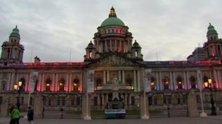 Belfast City Hall with rainbow lighting