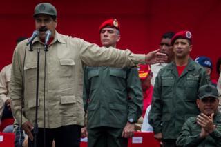 El presidente de Venezuela, Nicolás Maduro, durante un acto militar organizado con ocasión del séptimo aniversario del día de la milicia nacional el 17 de abril de 2017.