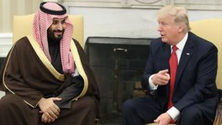 Trump with Mohammed bin Salman, Deputy Crown Prince and Minister of Defense of the Kingdom of Saudi Arabia,