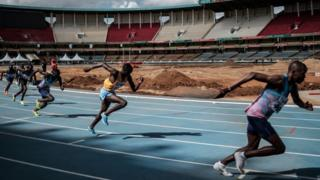 Athletes compete in the final of Men's 800m during the trials for the 2018 Commonwealth Games, at Kasarani Stadium in Nairobi, Kenya, on February 17, 2018