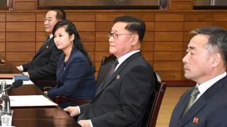 회의에 참석한 현송월 단장 (왼쪽에서 두번째)