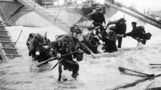 British troops going ashore on D-Day