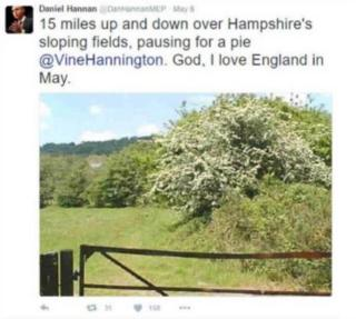 """Screengrab of Tweet: @DanHannanMEP: """"15 miles up and down over Hampshire's sloping fields, pausing for a pie @vinehannington. God, I love England in May."""""""