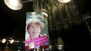 Election campaign poster showing independent candidate Henriette Reker in front of Cologne Cathedral. 18 Oct 2015