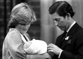 Prince and Princess of Wales showing off their son, Prince William, to the media for the first time